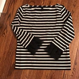 J Crew stripe tee with mesh bell sleeves size XS